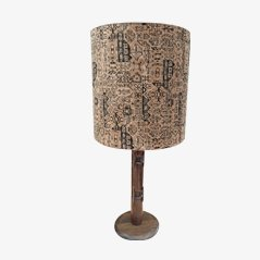 Large Table Lamp with Velvet Lampshade, 1960s