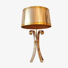 Lámpara de mesa de latón y acero cromado de Maison Charles, años 70