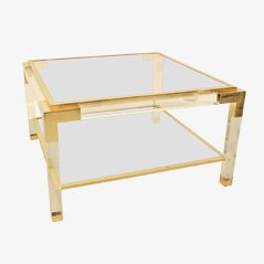 Square Brass & Lucite Coffee Table, 1975