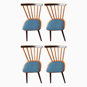 Mid-Century Stick Back Dining Chairs with Petrol Blue Covers, Set of 4