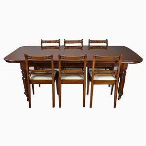 Tavolo da pranzo e sedie in stile vittoriano in mogano, anni '70, set di 7
