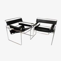 B3 Wassily Stühle von Marcel Breuer, 2er Set