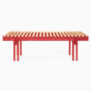Banc Heights Bench Couleur Rouge en Frêne par Alban Le Henry