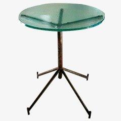 Mesa araña industrial vintage de vidrio, años 50