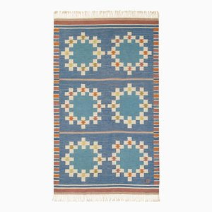 Blauer Mid-Century Teppich von Uhra-Beata Simberg-Ehrström