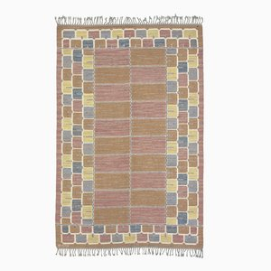 Swedish Flat Weave Rug in Pastels by Marta Maas-Fjetterström