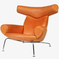 Ox Chair in Natural Leather by Hans J. Wegner, 1960