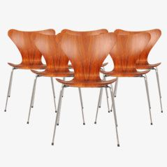 Esszimmerstühle von Arne Jacobsen für Fritz Hansen, 1960, 6er Set