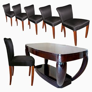 Art Deco Dining Table & Chairs Set by Hubert Martin et Ploquin for Marber, 1930s