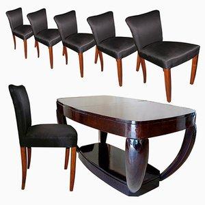 Art Déco Set mit Esstisch und Stühlen von Hubert Martin et Ploquin für Marber, 1930er