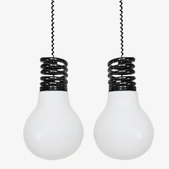 Lampade a sospensione a forma di lampadine in vetro di S.T.L. Studio per Lamperti, set di 2
