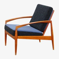 Teak Easy Chair with Two-Tone Fabric by Kai Kristiansen for Magnus Olesen, 1950s