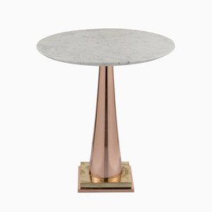 Mesa de centro de latón y aluminio con tablero de mármol de Simone Calcinai para Brass Brothers & Co.