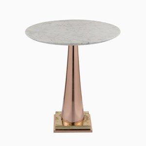Tavolino da caffè in ottone, alluminio e marmo di Simone Calcinai per Brass Brothers & Co.