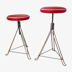 Industrial Red Leather Stools, 1950s, Set of 2
