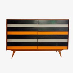 Mid-Century Wooden Striped Sideboard