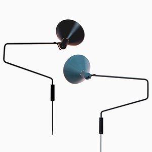Wandlampen in Schwarz & P von JJM Hoogervorst für Anvia, 1950er, 2er Set