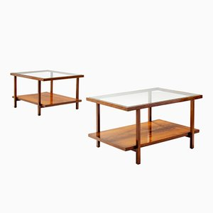 Rectangular Glass & Caviuna Wood Coffee Tables from Branco & Preto, 1960s, Set of 2