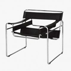 Black Leather Wassily Armchair by Marcel Breuer