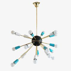 Italian Brass and Aluminium Sputnik Chandelier Light