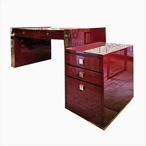 Schreibtisch und Schrank aus Lackiertem Holz & Messing von Jean Claude Mahey, 1970er, 2er Set