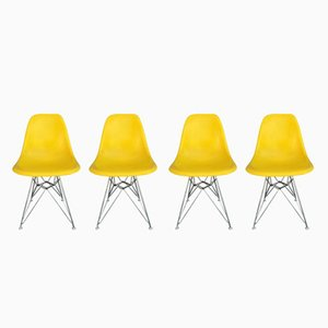 Vintage Yellow Fiberglass Chairs by Charles & Ray Eames for Herman Miller, Set of 4