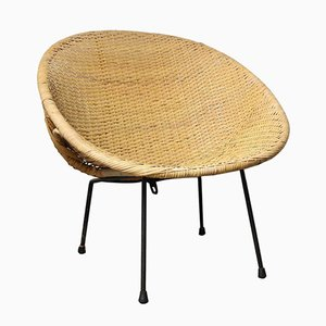 Round Bamboo Basket Chair, 1950s