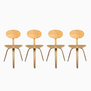 Mid-Century Bentwood Chairs from Steiner, Set of 4