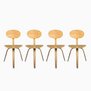 Mid-Century Bugholz Stühle von Steiner, 4er Set