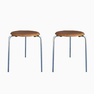 Tabourets Vintage par Arne Jacobsen pour Fritz Hansen, Set de 2