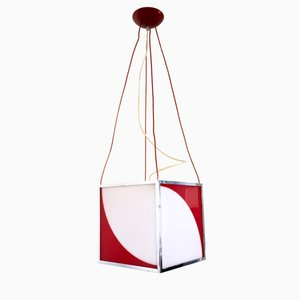 Italian Plexiglass and Varnished Metal Cube Pendant, 1970s