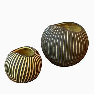 Jarrones Kokos de cerámica rayada de Hjördis Oldfors para Upsala Ekeby, años 50. Juego de 2