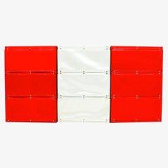 Unità di mensole Softline rosse e bianche di Otto Zapf, 1971