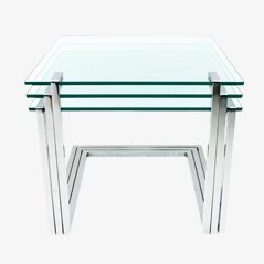 Mid-Century Glass and Chrome Nesting Tables by Milo Baughman, 1970s, Set of 3