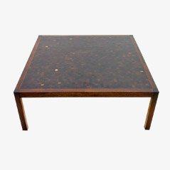 Wenge Mosaic Coffee Table by Dieter Wäckerlin for Idealheim Basel, 1960s