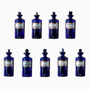 Antique Blue Apothecary Bottles from York Glass Company, Set of 9