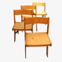 Mid-Century Wooden Dining Chairs, 1950s, Set of 4