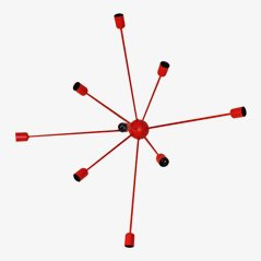 Lampada da parete Sputnik a 9 braccia rossa