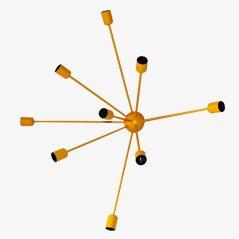 Lampada da parete Sputnik a 9 braccia gialla