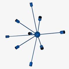Lampada da parete Sputnik a 9 braccia blu