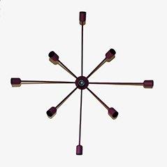 Neunarmige Sputnik Wandlampe in Lila