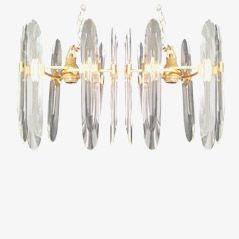 Crystal Glass Chandeliers by Gaetano Sciolari, 1960s, Set of 2
