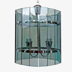 Mid Century Smoked Glass Chandelier from Fontana Arte