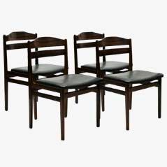 Mid-Century Palisander Esszimmerstühle, 4er Set