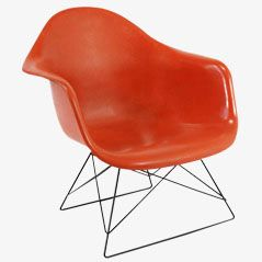 Vintage Orange Armchair by Charles and Ray Eames for Herman Miller, 1950s