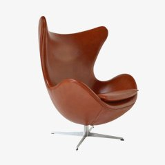 Leather Egg Chair by Arne Jacobsen for Fritz Hansen, 1967