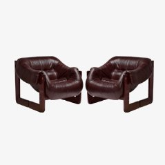 Leather Armchairs by Percival Lafer, Set of 2