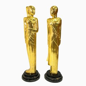 French Art Deco Statues, 1930s, Set of 2