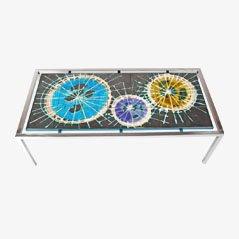 Tavolo Mid-Century a mattonelle dipinte di J. Belarti, anni '60