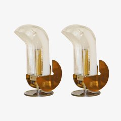 Bird-Shaped Brass Table Lamps, Set of 2